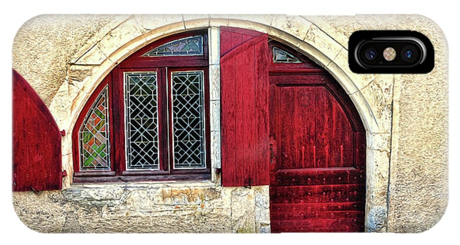Red Door IPhone X Case featuring the photograph Red Windows And Door Provence France by Dave Mills