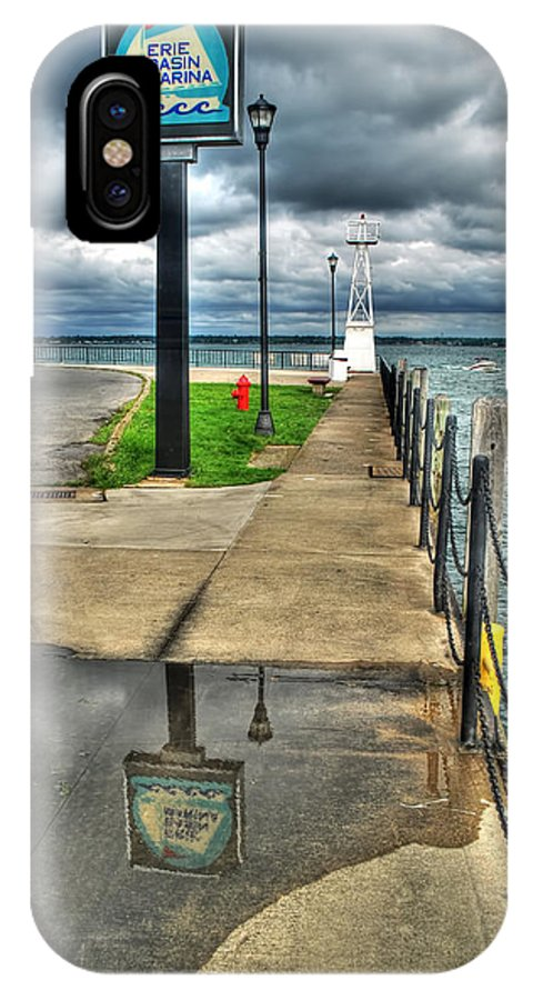 IPhone X Case featuring the photograph Reflecting At The Erie Basin Marina by Michael Frank Jr