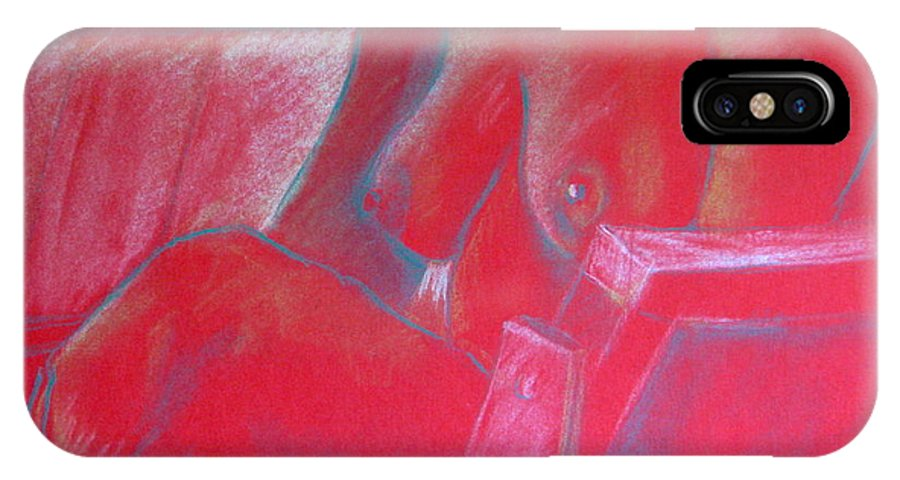 Nude IPhone X Case featuring the pastel Relaxing In Red by Rory Sagner