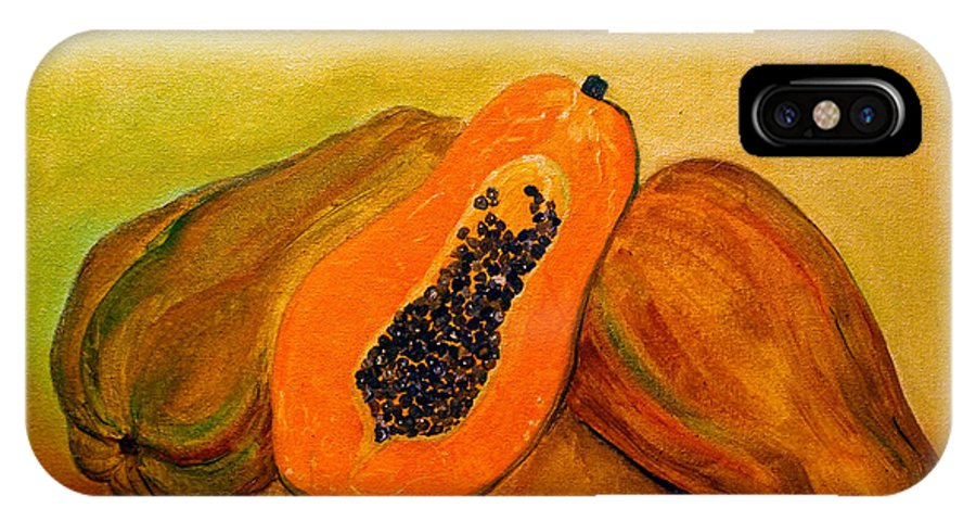 Still Life IPhone X Case featuring the painting Ripe Papaya by Veronica Zimmerman