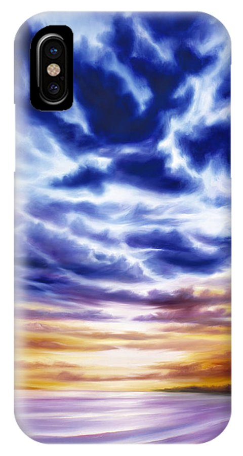 Sunrise; Sunset; Power; Glory; Cloudscape; Skyscape; Purple; Red; Blue; Stunning; Landscape; James C. Hill; James Christopher Hill; Jameshillgallery.com; Ocean; Lakes; Sky; Contemporary; Yellow; Ocean; River; Water IPhone X Case featuring the painting Rise by James Christopher Hill