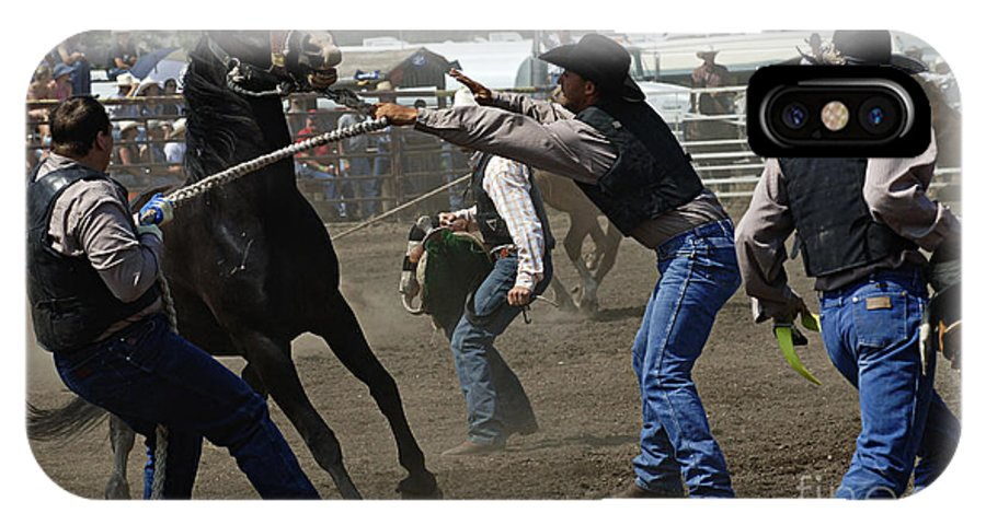 Rodeo IPhone X / XS Case featuring the photograph Rodeo Wild Horse Race by Bob Christopher