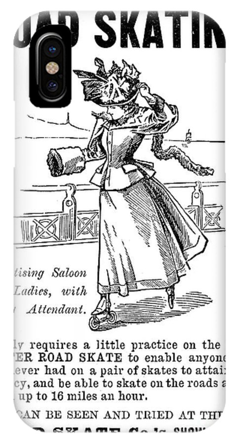 1896 IPhone X Case featuring the photograph Roller Skates, 1896 by Granger