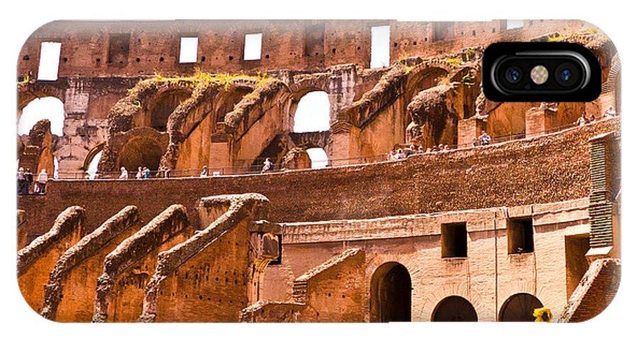 Rome IPhone X Case featuring the photograph Roman Coliseum Interior by Jon Berghoff