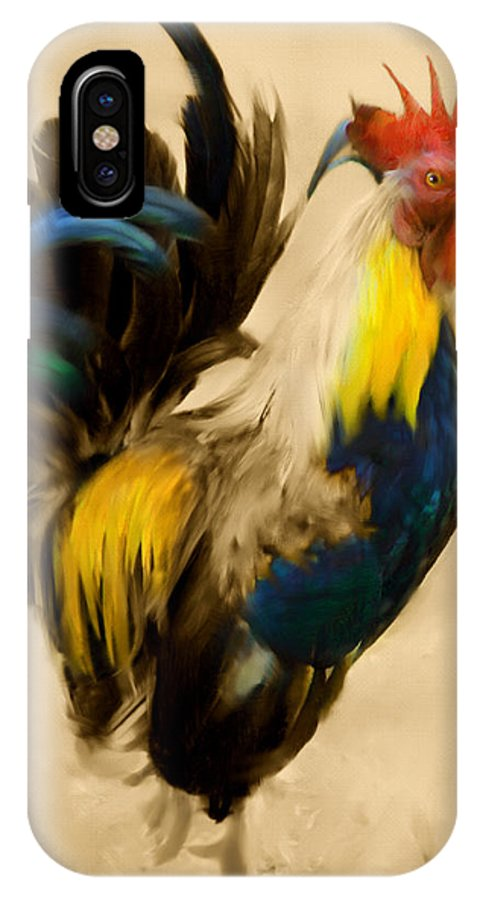 Rooster IPhone X Case featuring the painting Rooster On The Prowl 2 - Vintage Tonal by Georgiana Romanovna