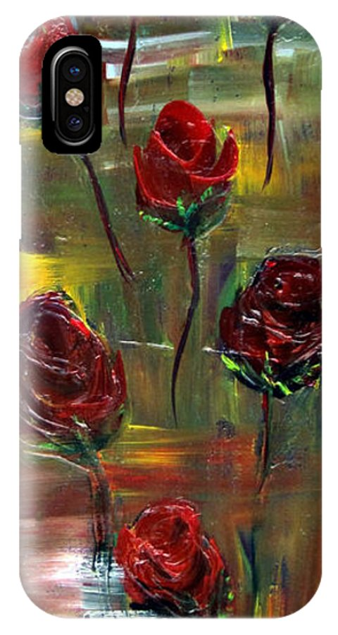 Petal IPhone X Case featuring the painting Roses Free by Kathy Sheeran