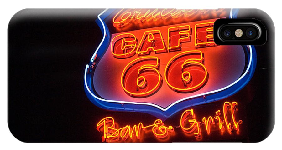 Flames IPhone X Case featuring the photograph Route 66 Bar And Grill by Bob Christopher