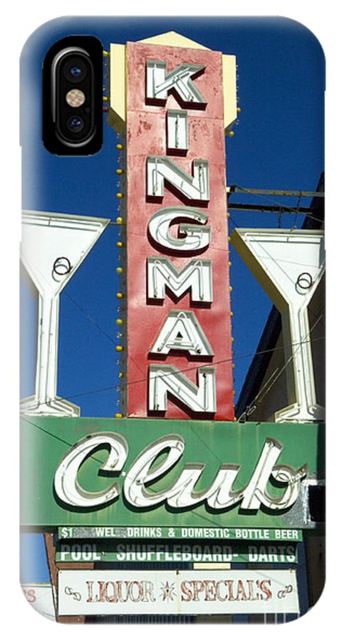 Flames IPhone X Case featuring the photograph Route 66 Kingman Club by Bob Christopher