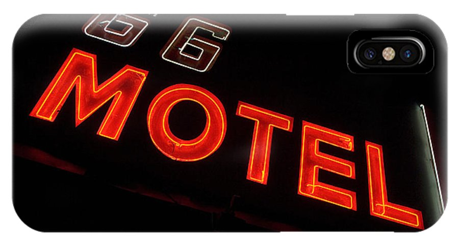 Classic Car IPhone X Case featuring the photograph Route 66 Motel Neon by Bob Christopher