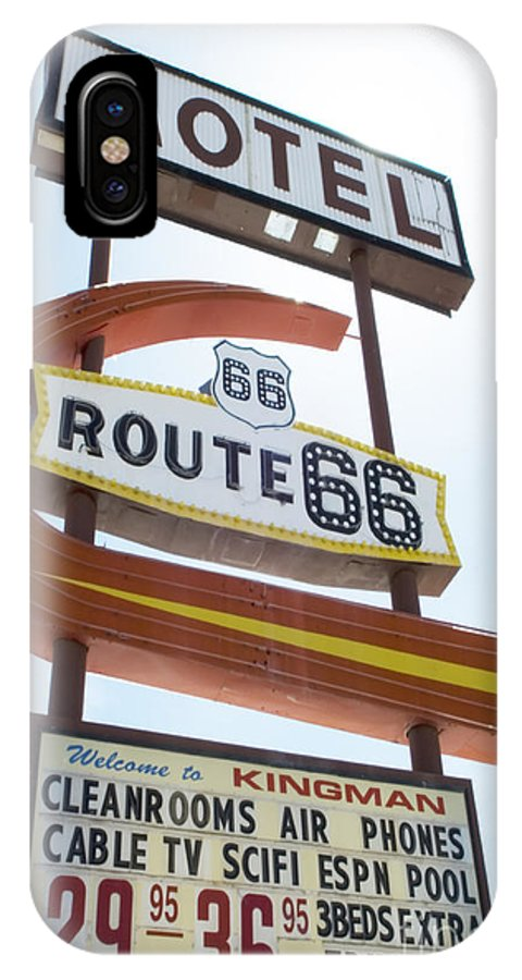 Flames IPhone X Case featuring the photograph Route 66 Motel Sign 1 by Bob Christopher