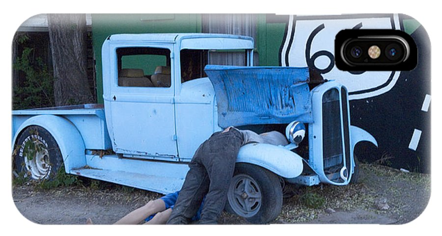 Classic Car IPhone X Case featuring the photograph Route 66 Repair Shop by Bob Christopher