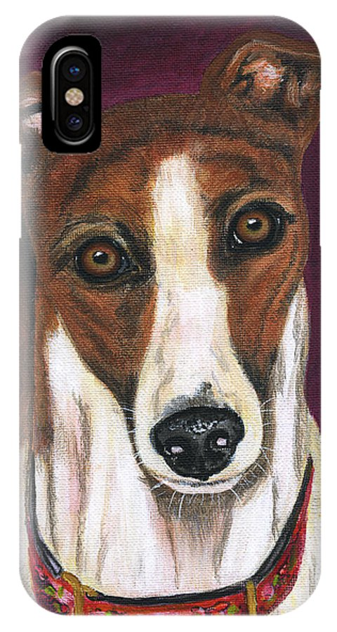 Greyhound IPhone X Case featuring the painting Royalty - Greyhound Painting by Michelle Wrighton
