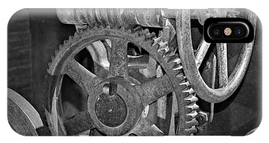 Gears IPhone X Case featuring the photograph Rust Gears And Wheels Black And White by Phyllis Denton