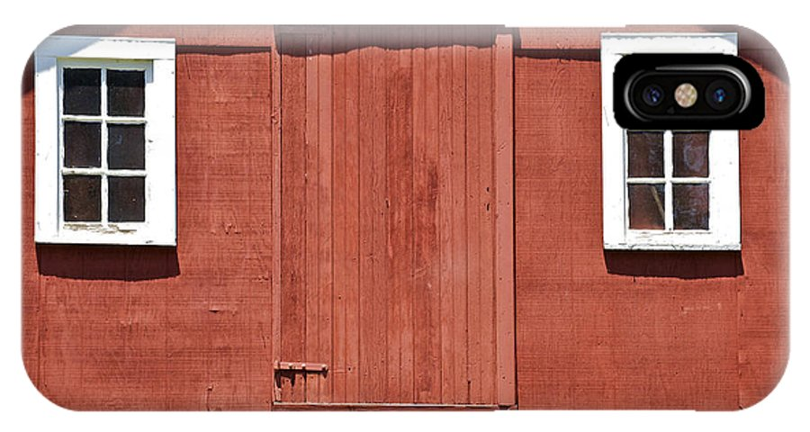 Americana IPhone X Case featuring the photograph Rustic Red Barn Door With Two White Wood Windows by David Letts