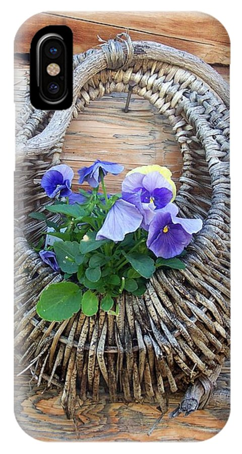 Pansies IPhone X Case featuring the photograph Rustic by Susan Saver
