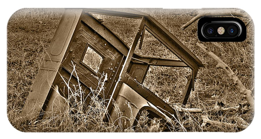 Sepia IPhone X Case featuring the photograph Rusting Away by Shane Bechler