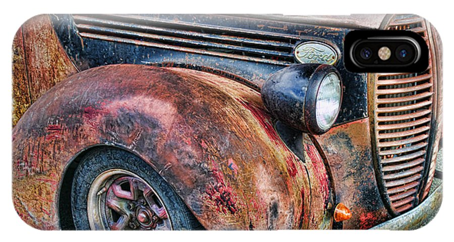 Trucks IPhone X Case featuring the photograph Rusty Truck Hood And Fender by Randy Harris
