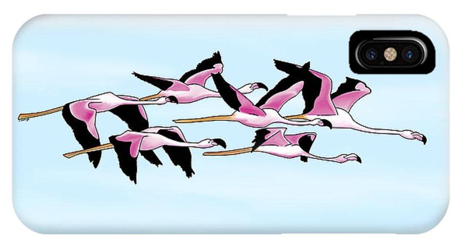 Flamingo IPhone X Case featuring the digital art Sa Genti Arrubia Flamingos by Roberta Follese