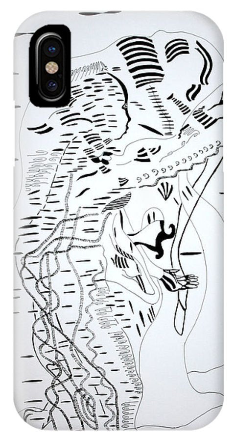 Jesus IPhone X / XS Case featuring the drawing Saharawi Dance - Western Sahara by Gloria Ssali