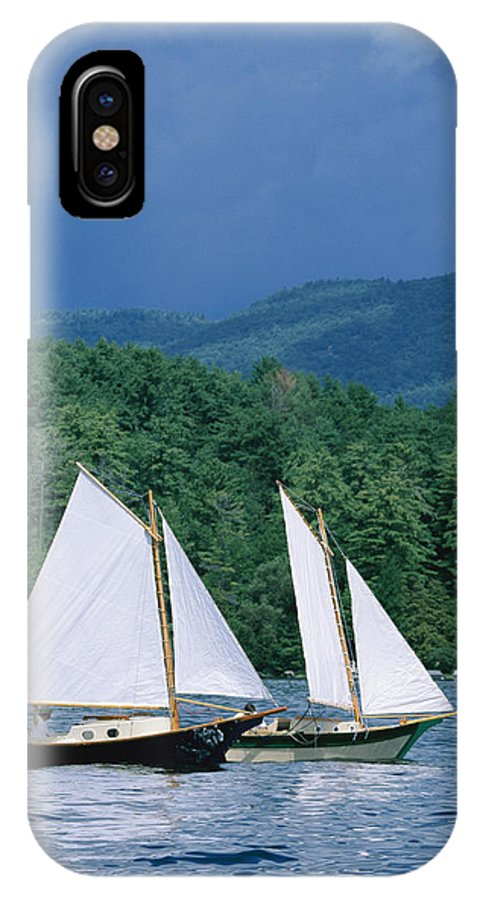 North America IPhone X / XS Case featuring the photograph Sailboats And Darkening Sky, Lake by Skip Brown