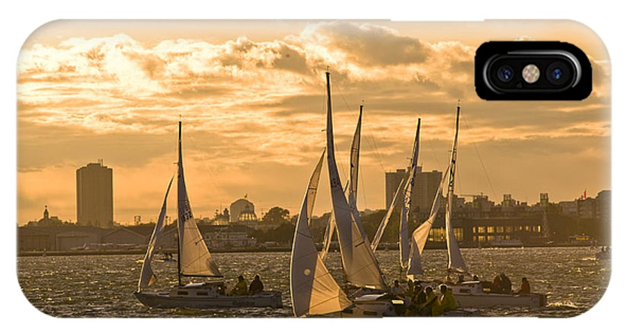 Boat IPhone X Case featuring the photograph Sailboats On Lake Ontario At Sunset by Richard Nowitz