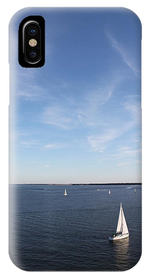 Sailboat IPhone X Case featuring the photograph Sailing Charleston Harbor by Carol Turner
