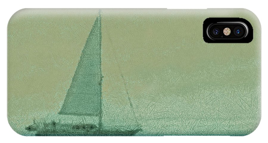 Boats IPhone X Case featuring the digital art Sailing The Coast by Ernie Echols