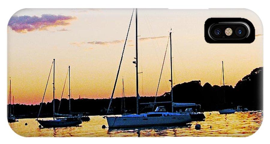 Sunset IPhone X Case featuring the digital art Salem Harbor Amber Sunset by Lizi Beard-Ward