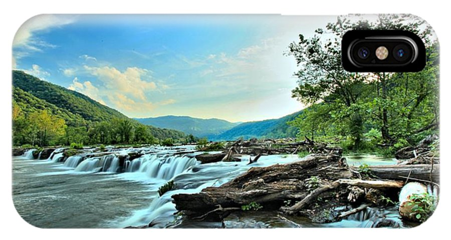 Sandstone Falls IPhone X Case featuring the photograph Sandstone At New River by Adam Jewell