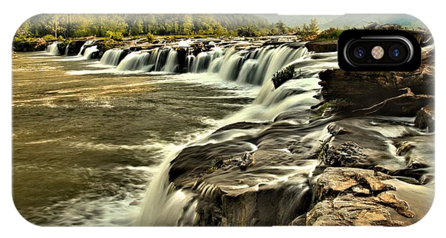 West Virginia Waterfalls IPhone X Case featuring the photograph Sandstone Falls At Dusk by Adam Jewell