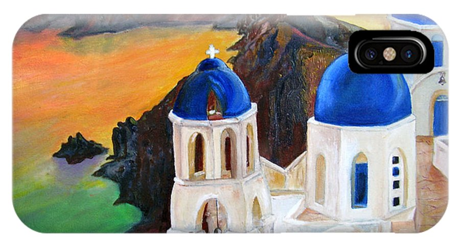 Santorini IPhone X Case featuring the painting Santorini Greece by Veronica Zimmerman