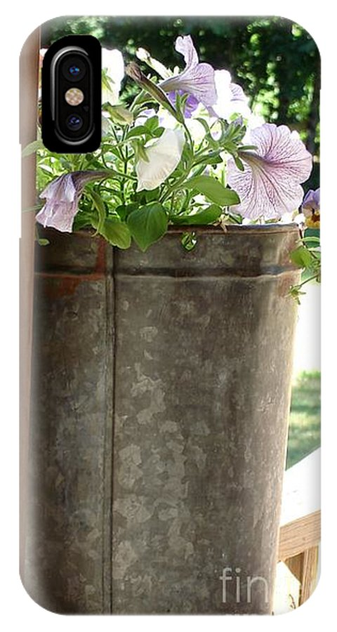 Flowers IPhone X / XS Case featuring the photograph Sap Bucket Planter by Kerri Mortenson