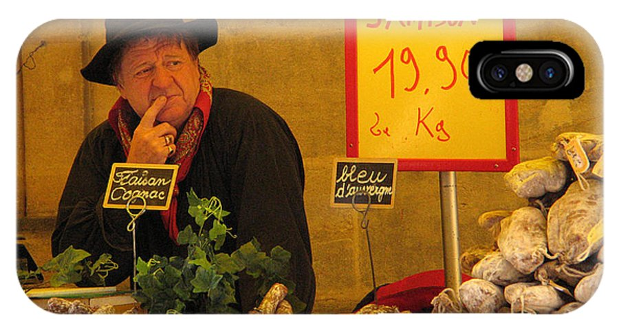 Market IPhone X Case featuring the photograph Sausage Seller At Sarlat Market by Greg Matchick