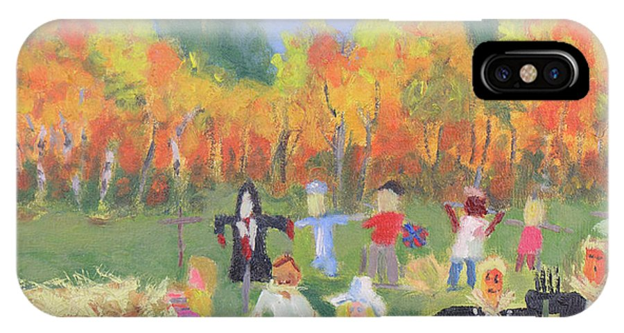 1000 Islands Region IPhone X Case featuring the painting Scarecrow Contest by Robert P Hedden