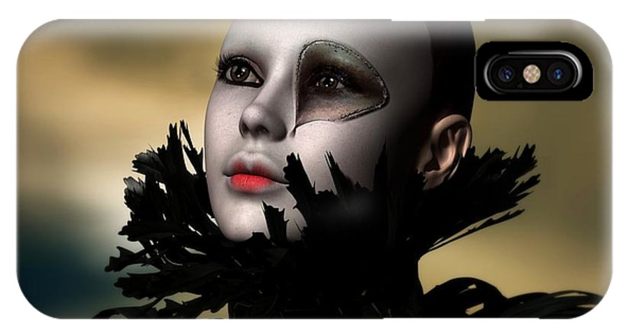 Scarred IPhone X Case featuring the digital art Scarred Beauty by Sandra Bauser Digital Art