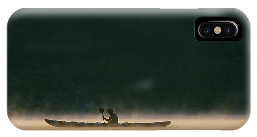 North America IPhone X / XS Case featuring the photograph Sea Kayak Silhouette On Potomac River by Skip Brown