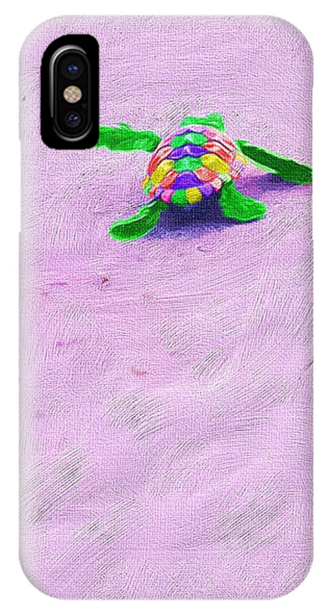 Turtle IPhone X Case featuring the photograph Sea Turtle Escape by Susan Cliett