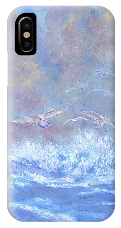 Seascape IPhone X Case featuring the painting Seagulls at Play by Ben Kiger