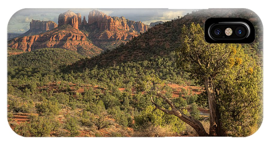 Hdr IPhone X Case featuring the photograph Sedona Red Rock Viewpoint by Sandra Bronstein