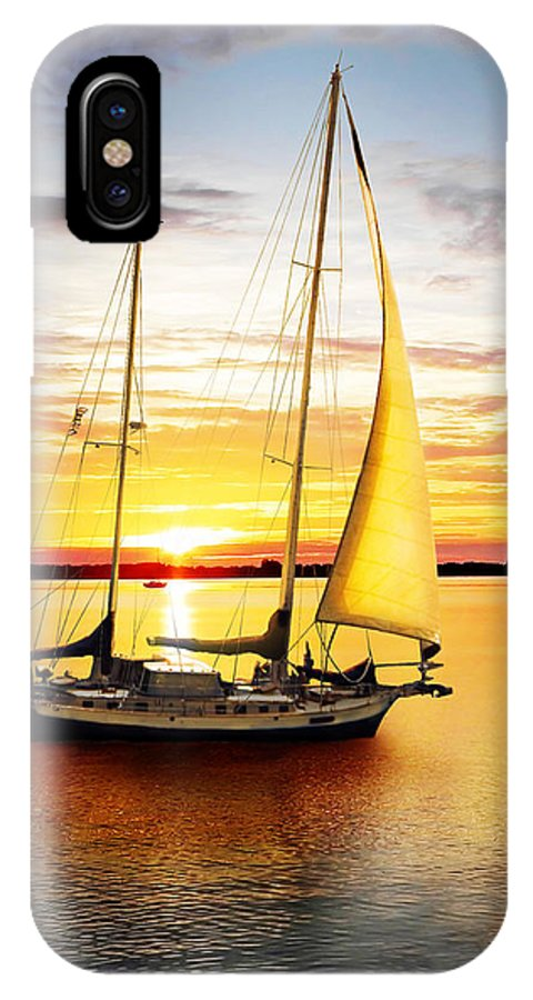 Sun IPhone X Case featuring the photograph Setting Sail by Francesa Miller
