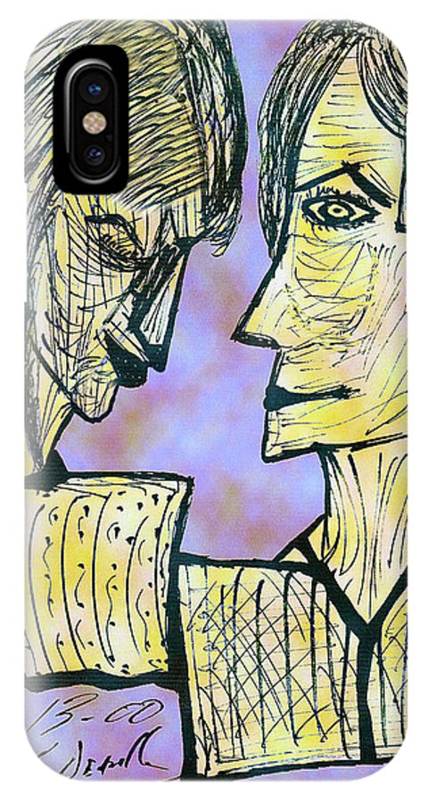 Digital IPhone X Case featuring the digital art She And He Pen And Ink 2000 Digital by Carl Deaville
