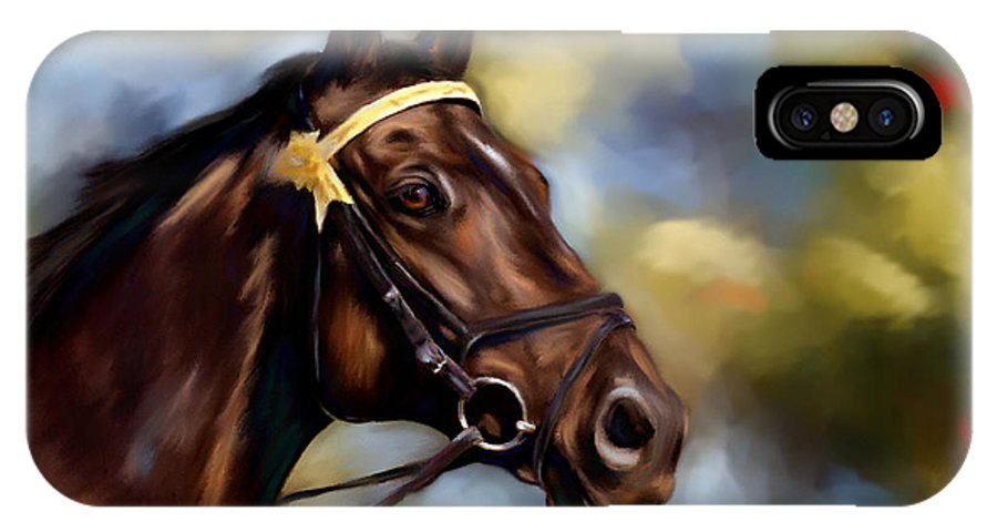 Horse IPhone X Case featuring the painting Show Horse Painting by Michelle Wrighton