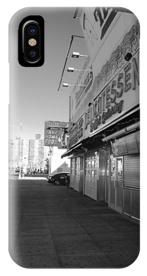 Brooklyn IPhone X Case featuring the photograph Sidewalks Of Gum In Black And White by Rob Hans