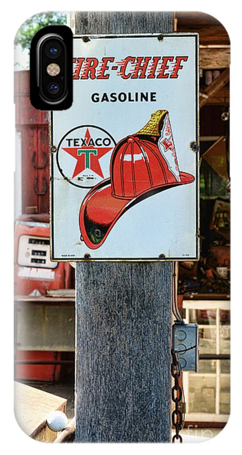 Gas Station Signs IPhone X Case featuring the photograph Sign - Fire Chief Gasoline by Paul Ward