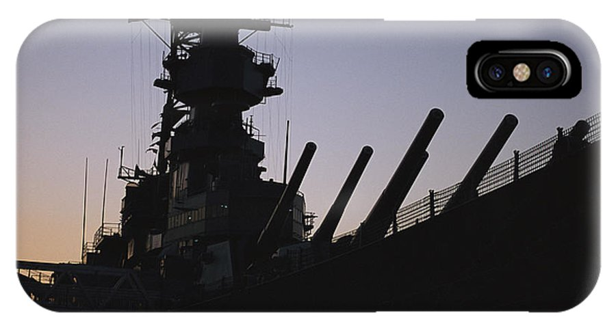 U.s.s. Wisconsin IPhone X / XS Case featuring the photograph Silhouette Of The Battleship U.s.s by O. Louis Mazzatenta