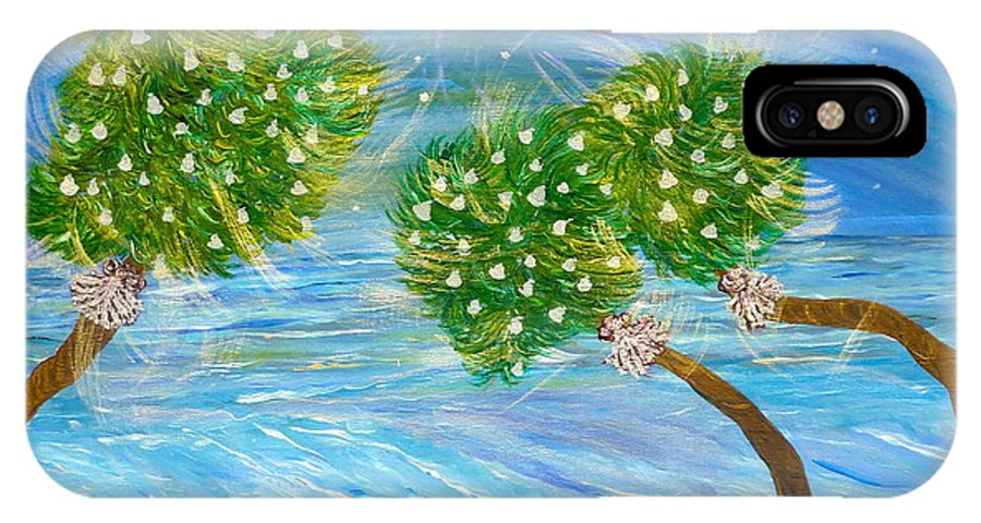 Christmas Card On The Coast IPhone X Case featuring the painting Silver Bells by Sara Credito