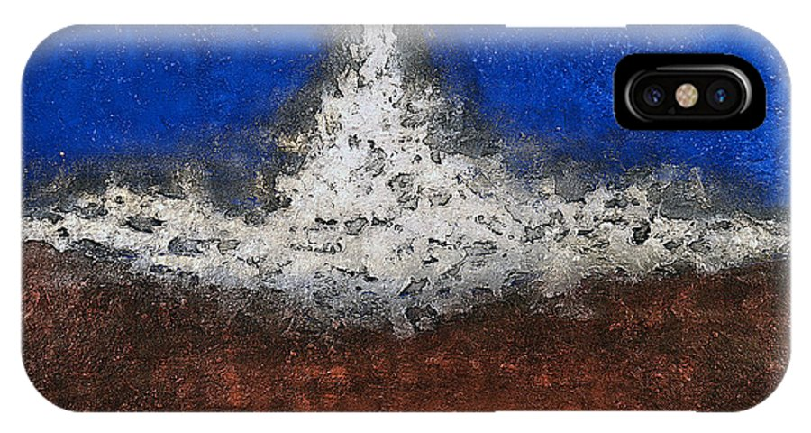 Art IPhone X Case featuring the mixed media Silver Spaceship by Mauro Celotti