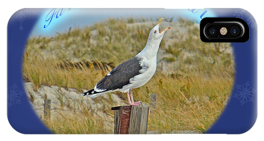 Christmas IPhone X / XS Case featuring the photograph Singing Seagull Christmas Card by Mother Nature