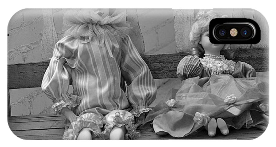 Doll IPhone X Case featuring the photograph Sitting Pretty In Black And White by Suzanne Gaff