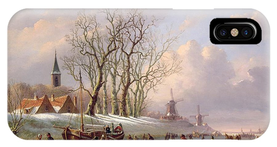 Winter IPhone X Case featuring the painting Skaters On A Frozen River Before Windmills by Dutch School